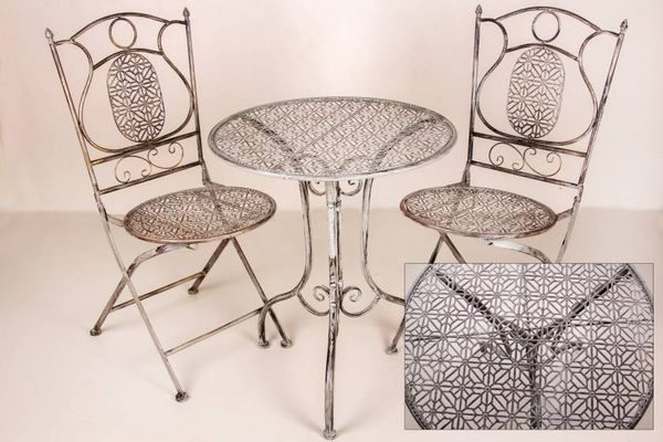 Antique Grey Trellis Pattern Table