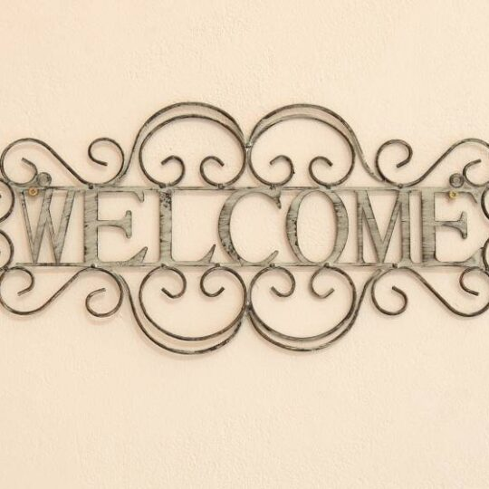 Antique Grey Welcome Wall Fixture