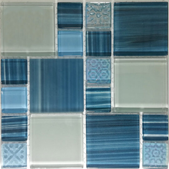 Turquoise Mix Crystal Glass (Sheet Size 30x30cm)
